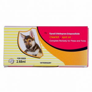 Clearkill Spot On for dogs contains Fipronil and (S)-methoprene, an insect growth regulator (IGR), to effectively kill fleas and ticks