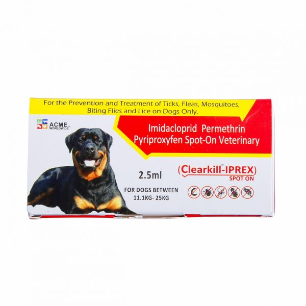 Clearkill - Iprex a pet product for dogs to prevent Ticks and Fleas