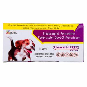 Clearkill Iprex Spot On for treatment on Dogs and Puppies over 7 weeks of age.